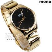 mono 馬鞭草系列 簡約圓錶 藍寶石水晶 不銹鋼帶 金色電鍍x黑色 女錶 3199G金黑小釘