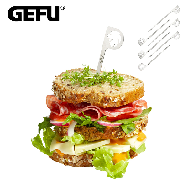 【GEFU】德國品牌不鏽鋼造型三明治叉(6入)