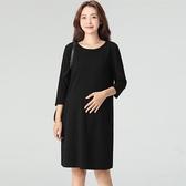 孕婦連身裙孕婦職業裝秋冬百搭黑色工作服中長款時尚打底長袖純棉連身裙 嬡孕哺