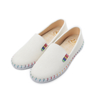 【J.P SHOES 彩色縫線平底鞋 白...