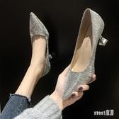 大尺碼高跟鞋2020春季新款細跟單鞋法式少女性感婚鞋銀色仙女風尖頭 LR19386【Sweet家居】