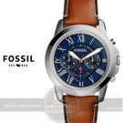 FOSSIL美國品牌Grant都會紳士三眼計時真皮腕錶/44mm FS5210公司貨