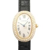 Cartier 卡地亞 BAIGNOIRE 18K金橢圓型錶殼鑲鑽黑色鱷魚皮錶帶腕錶 【BRAND OFF】