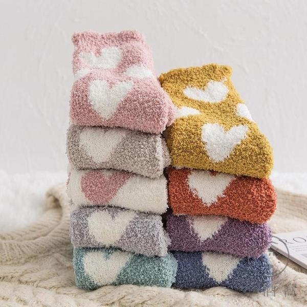珊瑚絨襪子女睡眠襪睡覺襪冬季毛絨襪可愛日系加厚保暖冬天地板襪【小酒窩服飾】
