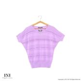 漢神獨家【INI】優雅質感、專櫃橫條細膩針織上衣.紫色