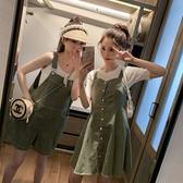 閨蜜連身裝 抹茶綠 大碼連身裙 收腰顯瘦 氣質仙女 超仙森系 甜美吊帶裙 姐妹裝背帶褲