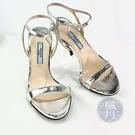 BRAND楓月 PRADA 銀色 亮面 金屬光 蛇皮 稀有皮 一字綁帶 涼鞋 高跟鞋 訂製款 #34.5