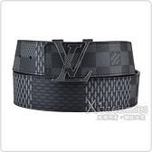 LV M0340T INITIALES花紋LOGO格紋設計Damier Infin帆布拼小牛皮雙面設計扣式皮帶(瑪瑙黑)