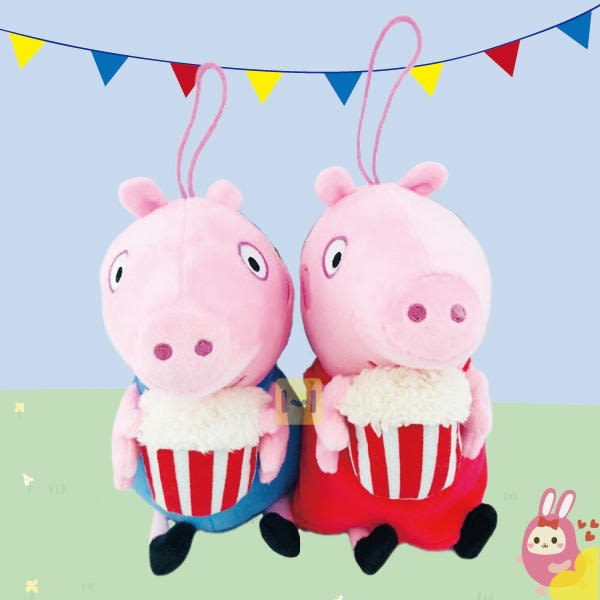 Hamee 正版授權 Peppa pig 粉紅豬小妹 佩佩豬 喬治 6吋爆米花款 絨毛娃娃 玩偶吊飾 (任選) HT-PP005