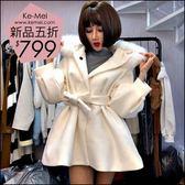 克妹Ke-Mei【AT48376】韓國東大門 奢華皮草毛毛腰帶V開襟毛尼長大衣外套