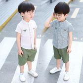 唐裝套裝男童 韓版2男童立領襯衫套裝5夏季1兒童衣服2018寶寶夏裝3歲短袖兩件套 米蘭街頭