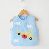 全館83折 寶寶罩衣男童純棉按扣無袖兒童背心式防水圍兜寶寶罩衣圍嘴吃飯衣