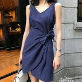 洋裝女裝氣質顯瘦繫帶收腰V領洋裝純色露背不規則背心裙子 情人節限時優惠