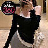 克妹Ke-Mei【ZT54617】韓妞性感小心機 挖背坦克背心造型假二件針織上衣
