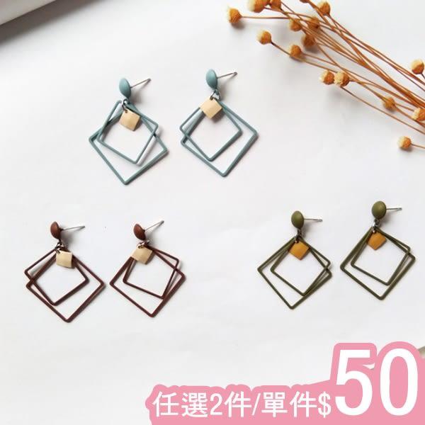 耳環-韓版復古氣質雙層磨砂方形金屬片個性百搭耳環Kiwi Shop奇異果0918【SVE4170】