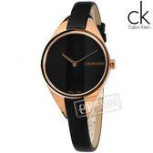 CK / K8P236C1 / 細緻迷人 礦石強化玻璃 瑞士製造 皮革手錶 黑x玫瑰金框 29mm