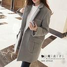 【QV9002】魔衣子-翻領修身中長款毛呢大衣外套