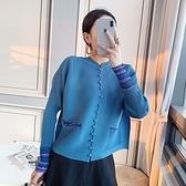 長袖T恤-高彈力復古寬鬆印花褶皺女上衣2色73zs28[巴黎精品]