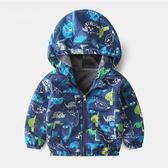 俏皮恐龍加絨風衣外套 塗鴉恐龍 童裝 防風外套