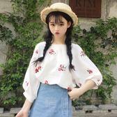 春夏女裝正韓小清新花朵刺繡短款寬鬆棉麻短袖T恤半袖打底衫上衣 晴川生活館