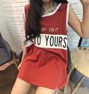夏季韓版學院風bf上衣女寬鬆字母拼色無袖T恤女中長款打底衫背心聖誕交換禮物