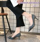 尖頭高跟鞋女春季新款網紅百搭細跟性感方扣淺口職業復古單鞋 雙12全館免運
