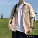 2020短袖襯衫男學生韓版休閒潮流寬鬆工裝外套男士五分袖襯衣【全館免運】