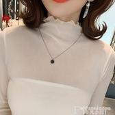 熱銷網紗打底襯高領蕾絲打底衫女秋冬2020新款毛衣內搭純色長袖洋氣網紗仙女上衣