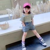 女童短袖T恤2020夏裝新款兒童洋氣體恤上衣寶寶彩色條紋打底衫潮 滿天星
