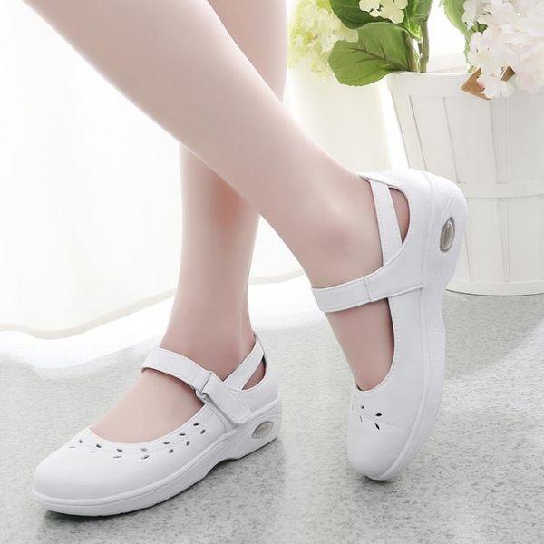 護士鞋新品白色氣墊鞋淺口防滑厚底楔形舒適透氣媽媽鞋單鞋鏤空款  可然精品鞋櫃