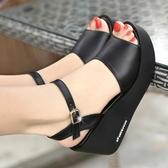 楔型鞋真皮坡跟涼鞋女夏季高跟鬆糕厚底百搭休閒女鞋 韓國時尚週