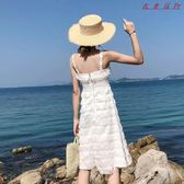 海邊度假沙灘裙仙女露背毛毛吊帶蛋糕裙連身裙