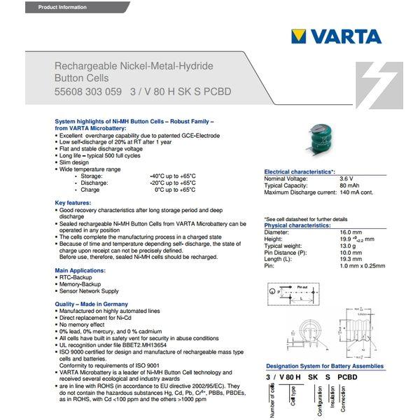 ✚久大電池❚ VARTA 3/V80HH 3.6V 70mAh 3P針腳 55608303059 PLC工控電池 VA6
