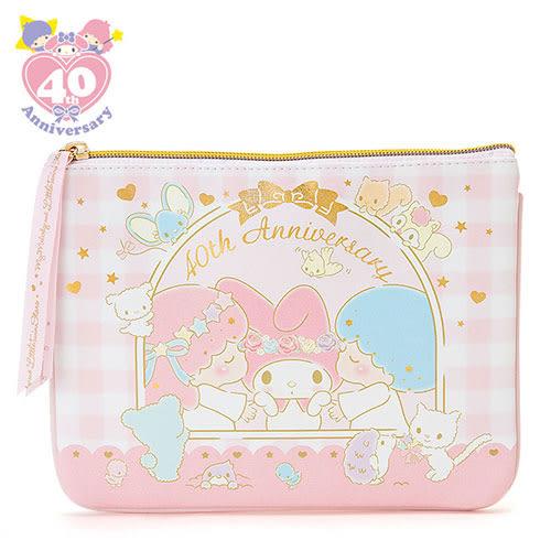★funbox生活用品★《Sanrio》美樂蒂/雙星仙子40週年甜蜜親親系列PU皮革扁平化妝包 319121