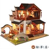 木質diy小屋古代房子模型材料手工制作雙層解壓【淘夢屋】