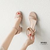 一字帶涼鞋女鞋子夏季百搭時裝中跟粗跟高跟鞋【聚物優品】