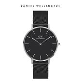 Daniel Wellington DW 手錶 36mm銀框 Petite 寂靜黑米蘭金屬錶
