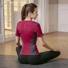 運動上衣斯泊恩瑜伽服女夏季短袖套裝健身運動形體跑步專業吸汗速乾瑜伽服 快速出貨