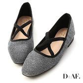 D+AF 復古女伶.交叉帶平底芭蕾娃娃鞋*銀黑
