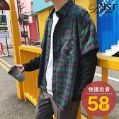 格紋襯衫 假兩件襯衫 韓系復古街頭風寬版兩件式上衣【W06TJC211】