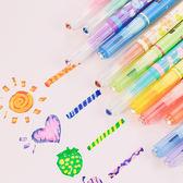 雙十二年終盛宴魔幻變色筆12色彩色雙頭熒光筆涂鴉筆兒童水彩彩色記號重點標記筆   初見居家