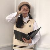 店長推薦★秋季女裝韓版英倫風徽章V領套頭無袖針織衫~