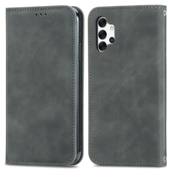 復古膚感皮套 三星A32 5G 書本式保護殼 簡約超薄磁吸錢包手機殼防摔軟殼抗指紋微纖皮革保護套