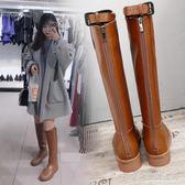 歐洲站直筒高筒靴粗跟顯瘦膝上靴女平底騎士靴  名購居家