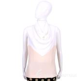 BALENCIAGA 白x粉色拼接垂領設計無袖上衣 1530039-05