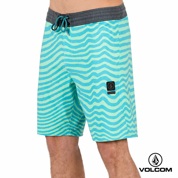 VOLCOM MAG VIBES STONEY 海灘褲-淺藍x嫩綠