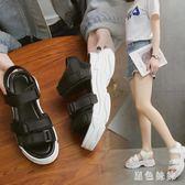 運動涼鞋女夏2019新款白色百搭高跟仙女風學生厚底坡跟平底鞋 aj12361『黑色妹妹』
