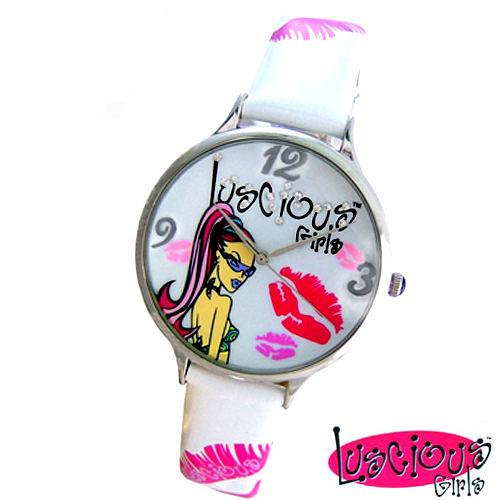【Luscious Girls】時尚耀動華麗個性風鑽錶-白色