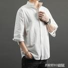 亞麻襯衫男短袖襯衣男士立領棉麻七分袖韓版很仙的痞帥潮流dk上衣 英賽爾