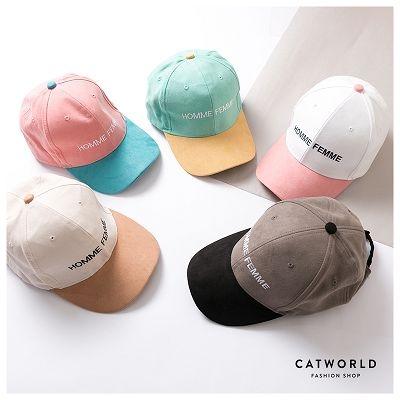 Catworld 馬卡龍配色麂皮絨棒球帽【18003473】‧F
